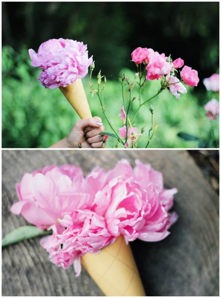 DIY Flower Ice Cream Cones For Wedding