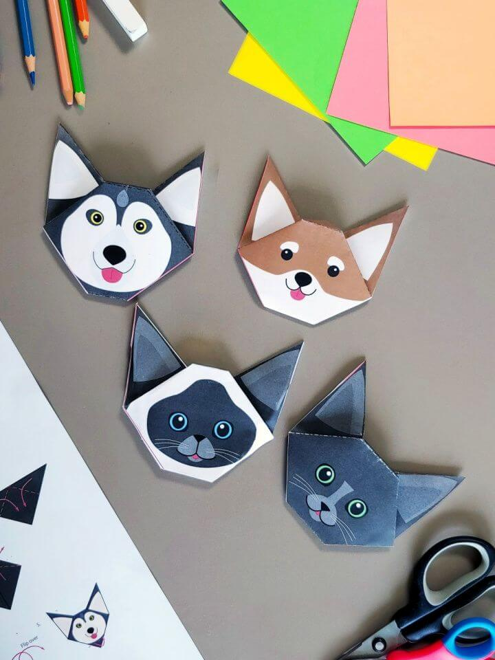DIY Free Printable Dogs and Cats Origami