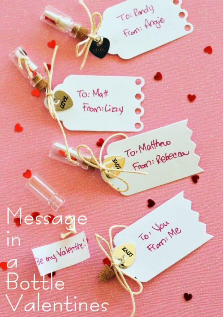 DIY Handmade Message in a Bottle Valentines