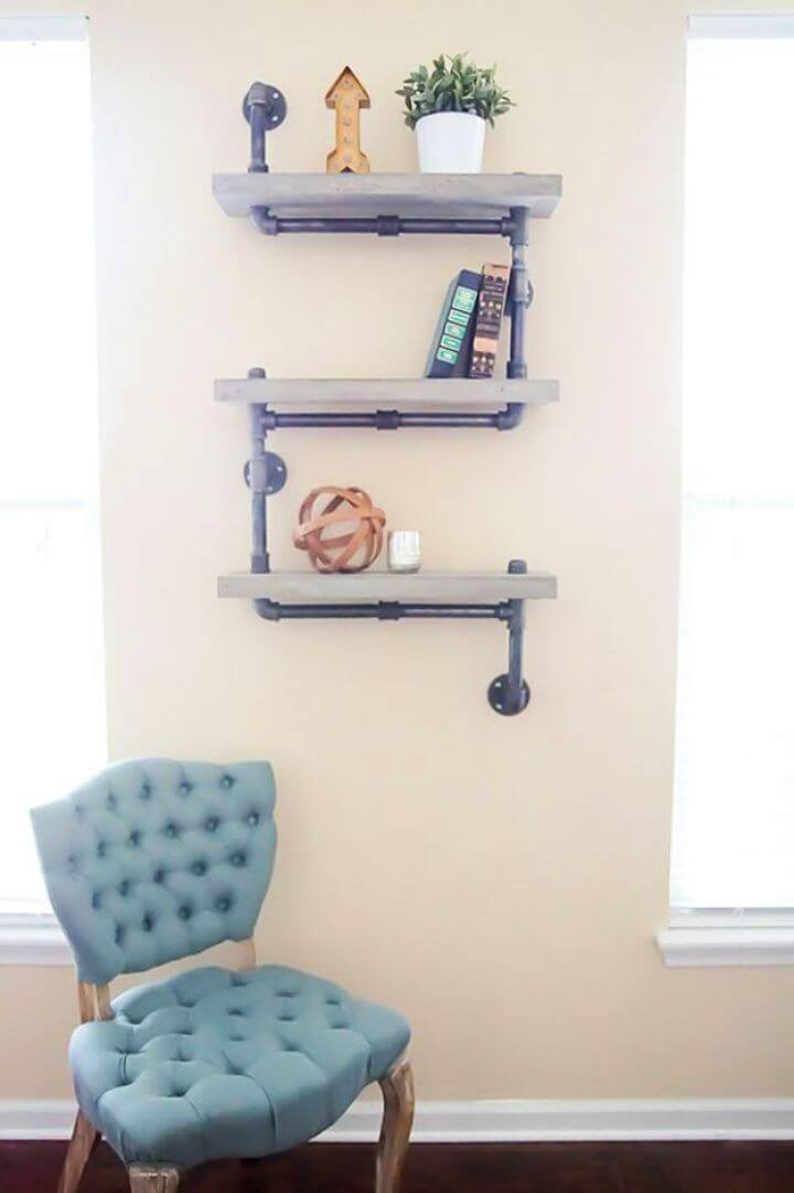 DIY Industrial Chic Concrete And Pipe Shelves