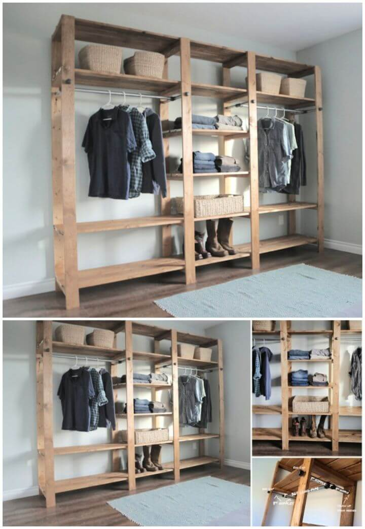 DIY Industrial Style Wood Slat Closet System