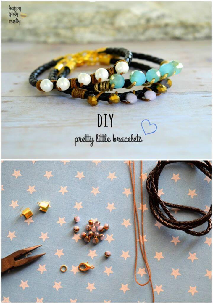 DIY Leather And Beads Cute Little Bracelets
