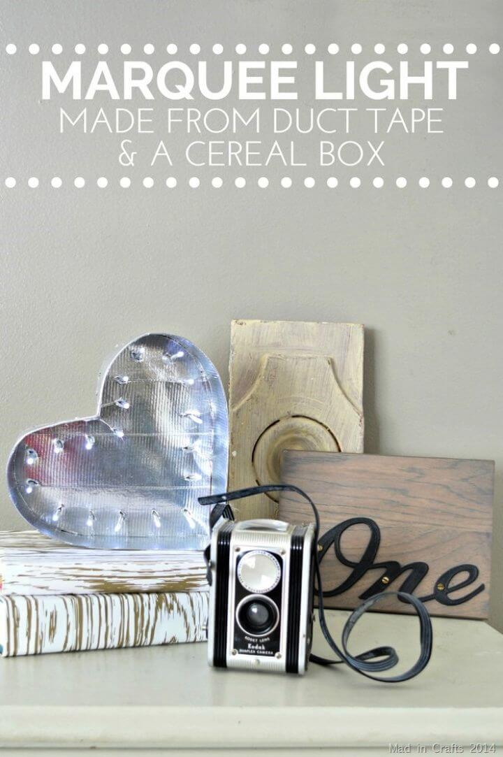 DIY Marquee Heart Made From A Cereal Box Duck Tape