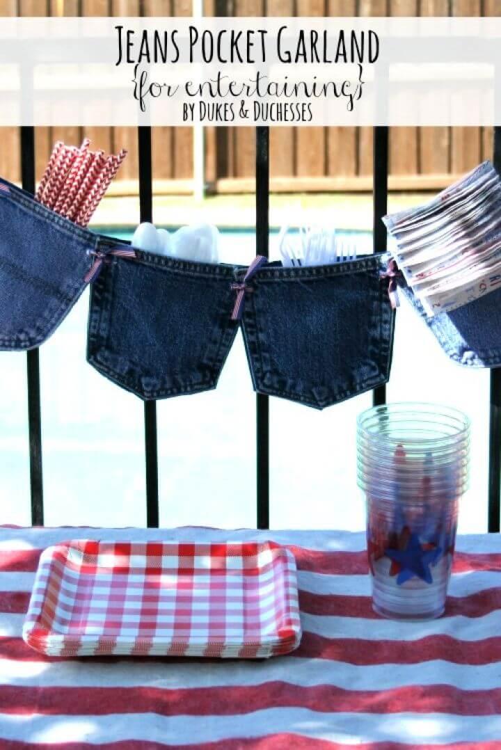 DIY No Sew Jeans Pocket Garland