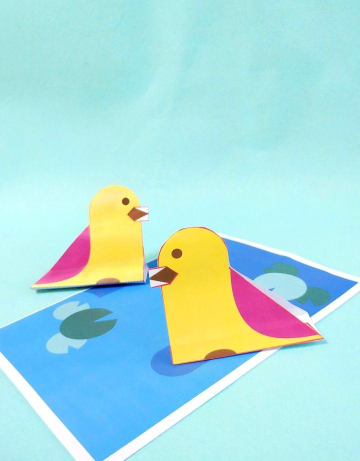 DIY Paper Duck Craft For Scissor Practice