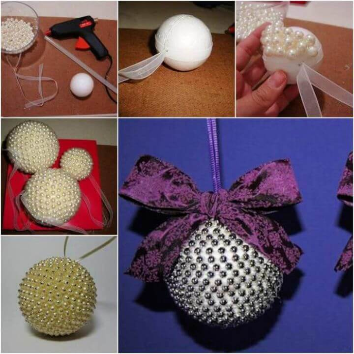 DIY Pearl Beads Ball Christmas Ornaments