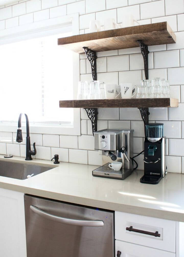 DIY Rustic Industrial Kitchen Shelves