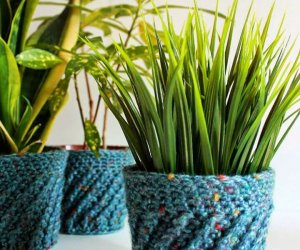 DIY Spiral Crochet Planter Cover