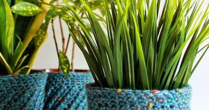 DIY Spiral Crochet Planter Cover