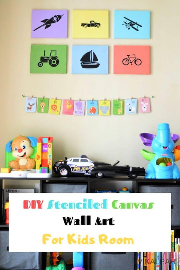 DIY Stenciled Canvas Art for Nursery