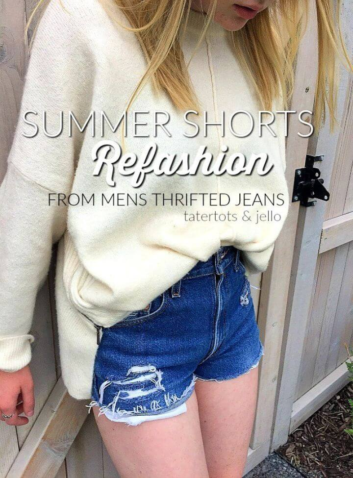 DIY Summer Shorts Refashion From Thrifted Mens Jeans