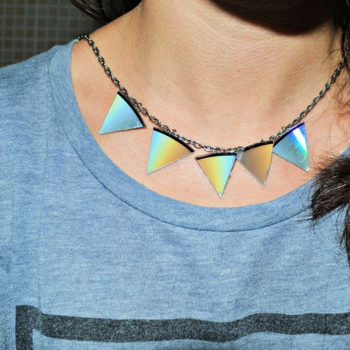 DIY Triangle Statement Necklace Out Of CDs