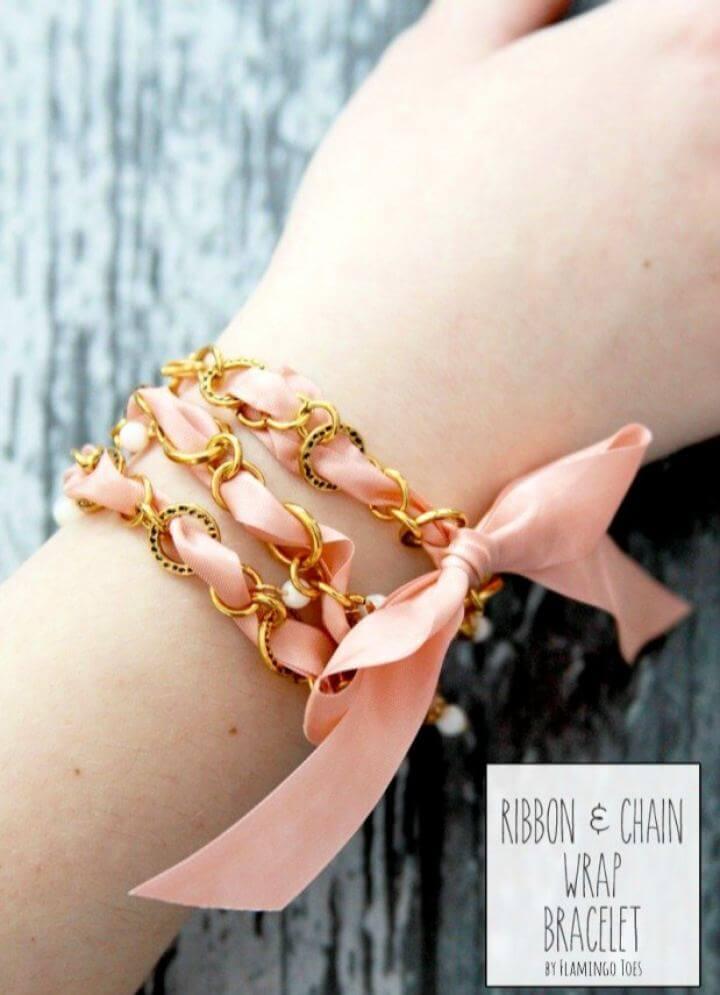 DIY Vintage Ribbon And Chain Wrap Bracelet