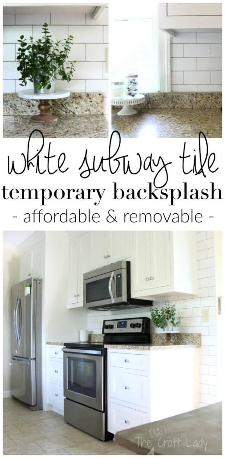DIY White Subway Tile Temporary Backsplash