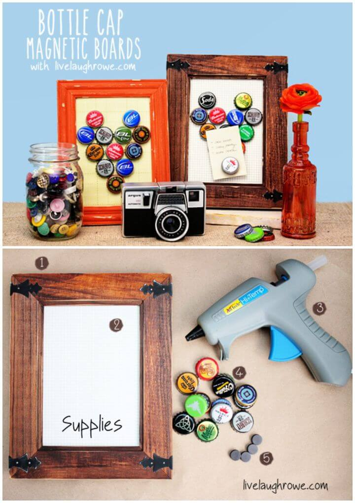 Easy DIY Bottle Cap Magnetic Boards