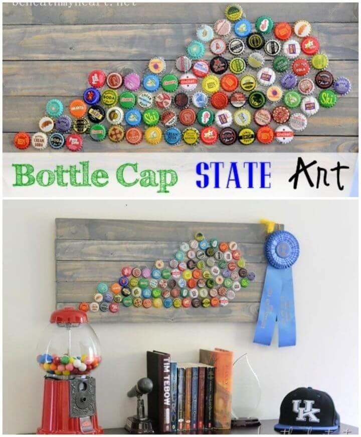 Easy DIY Bottle Cap State Art