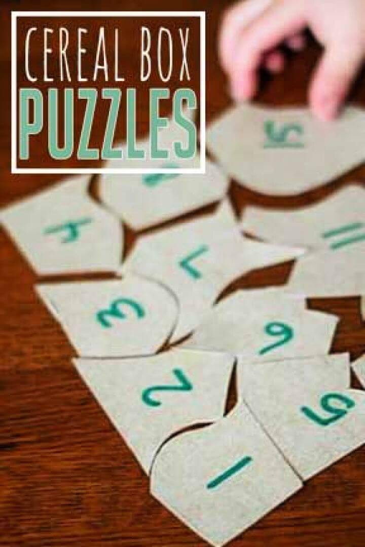 Easy DIY Cereal Box Puzzles to Learn to Count
