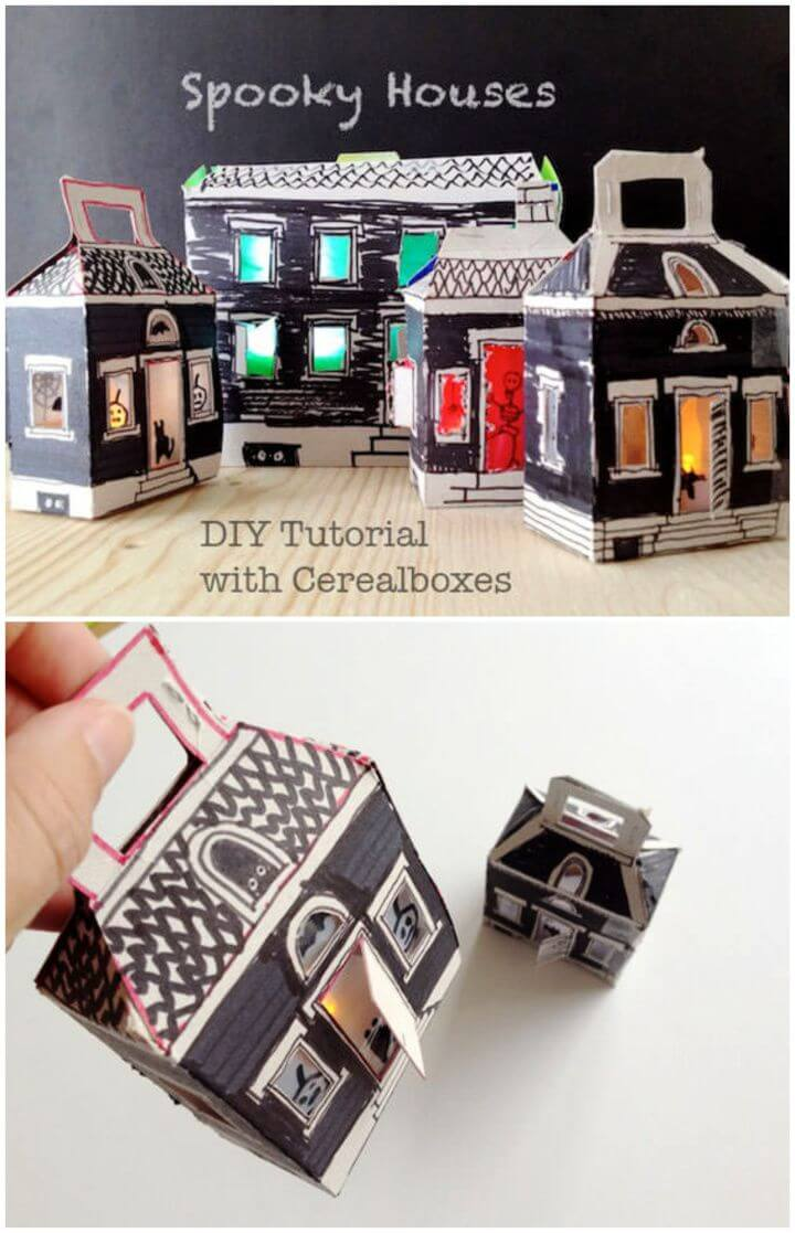 Easy DIY Cereal Box Spooky Houses