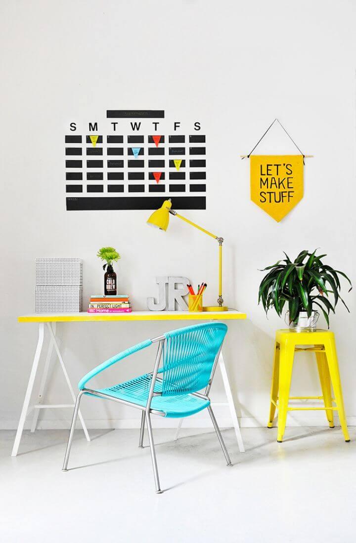 Easy DIY Chalkboard Tape Wall Calendar