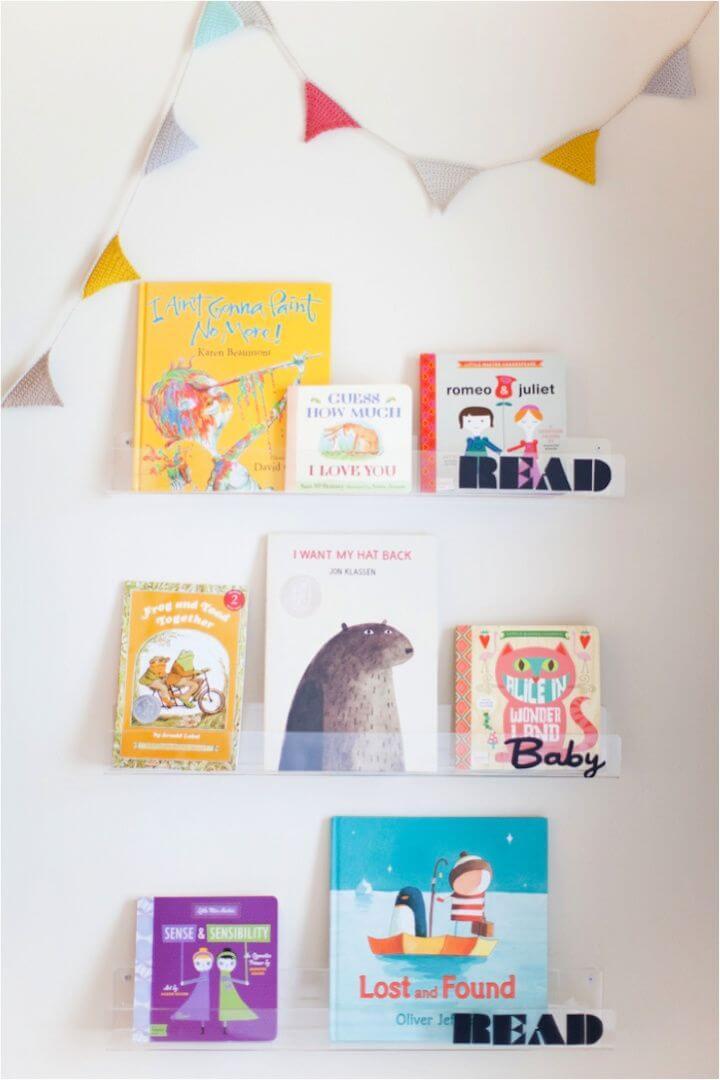 Easy DIY Clear Nursery Shelves