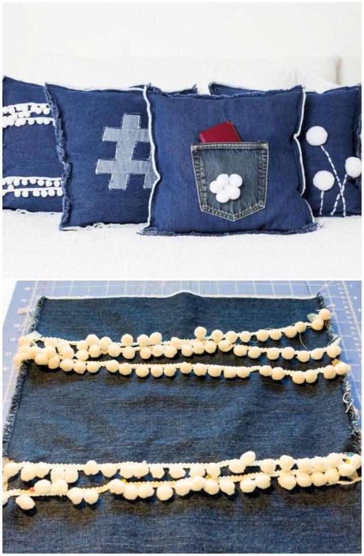 Easy DIY Denim and Pompom Pillows