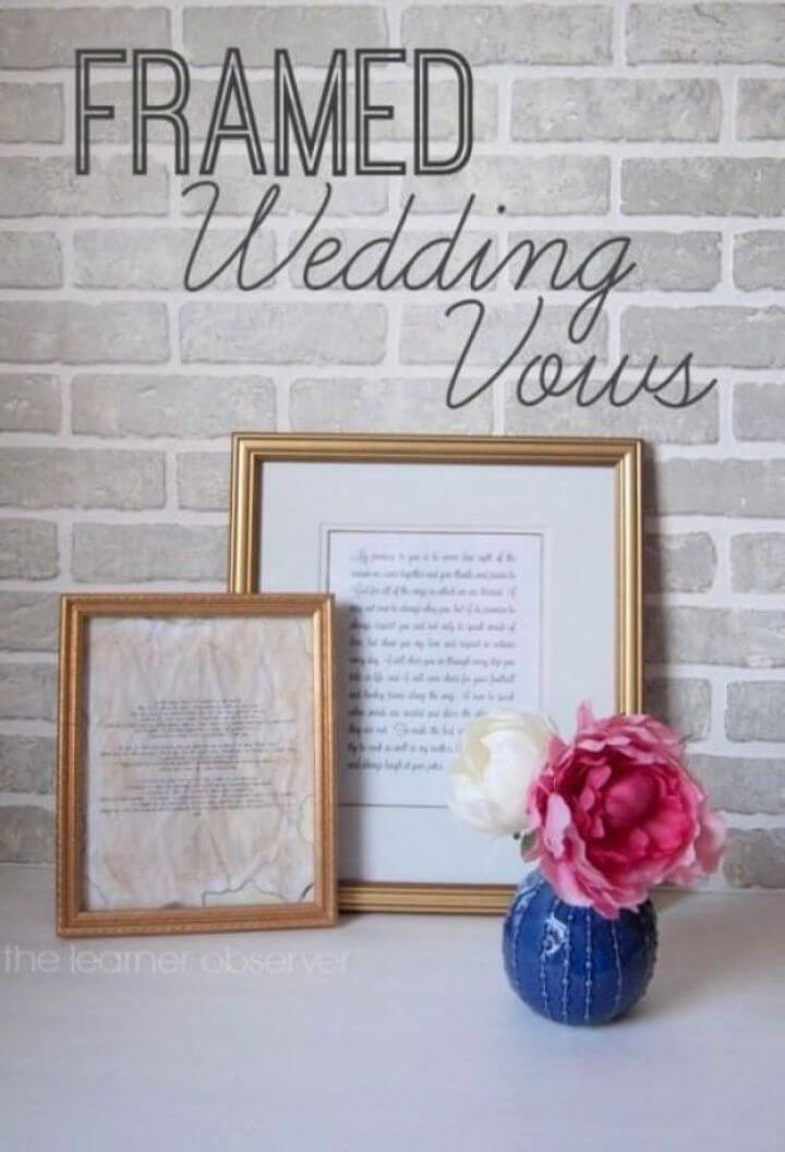 Easy DIY Framed Wedding Vows