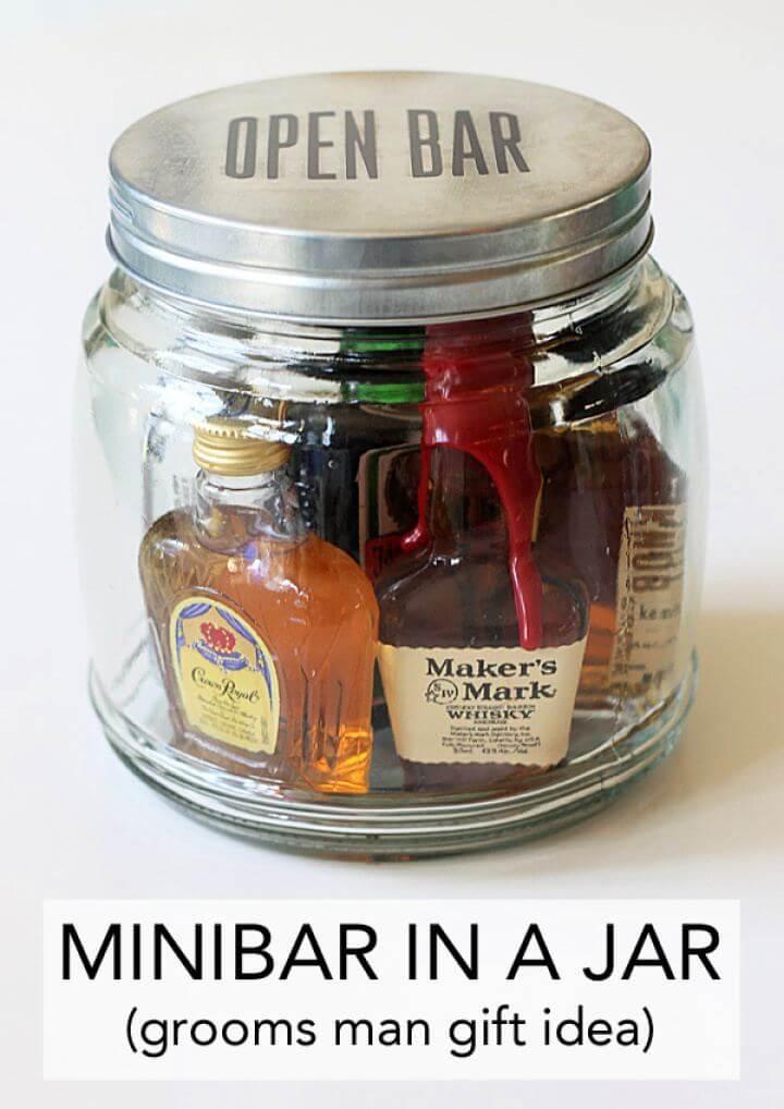 Easy DIY Mini Bar In A Jar For Men