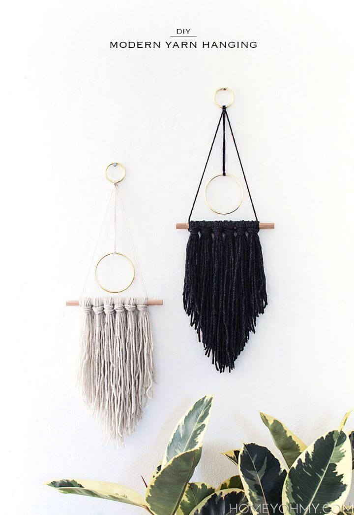 Easy DIY Modern Yarn Hanging