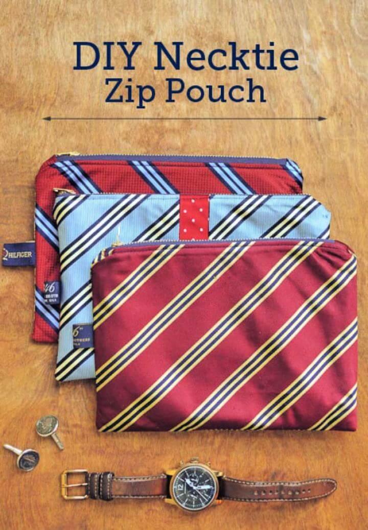 Easy DIY Necktie Zip Pouch For Men