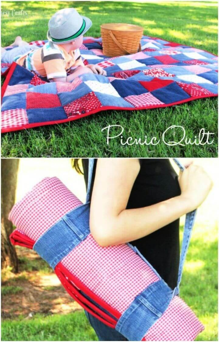 Easy DIY Picnic Quilt from Old Jeans