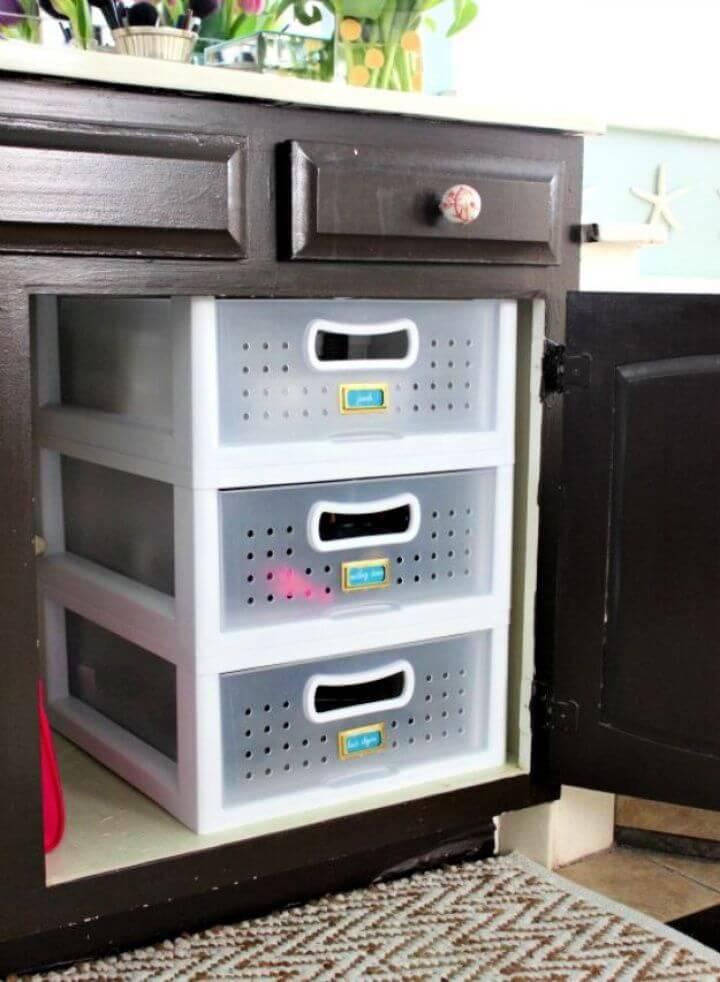 Easy DIY Plastic Bins Bathroom Organizer