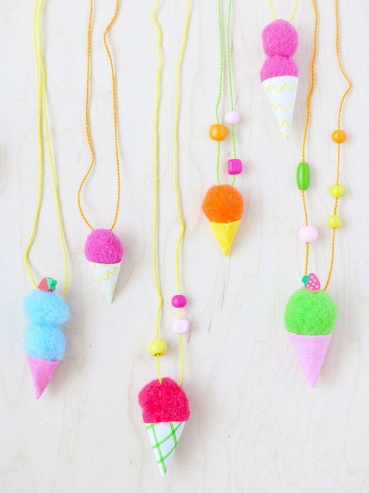 Easy DIY Pom Pom Ice Cream Necklaces
