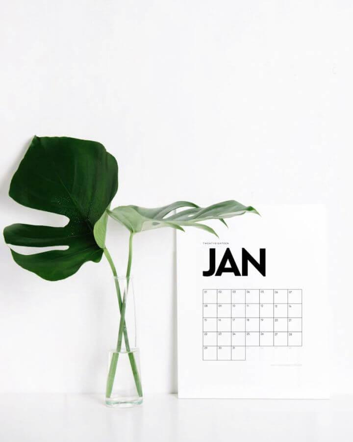 Easy DIY Printable Minimalist Calendar
