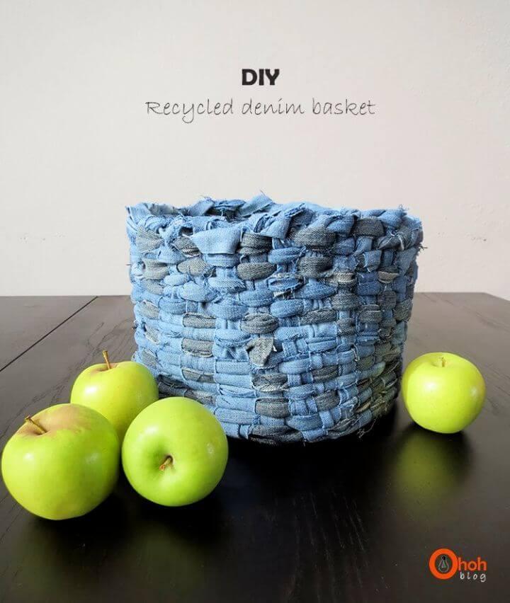 Easy DIY Recycled Denim Basket