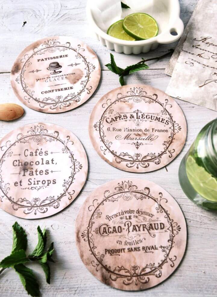 Easy DIY Vintage French CD Coasters Project
