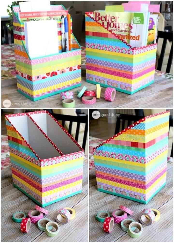 Easy DIY Washi Tape Cereal Box Organizers