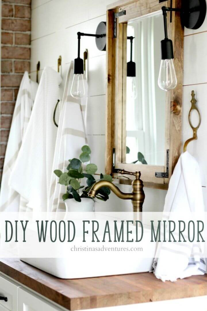 Easy DIY Wood Framed Bathroom Mirror