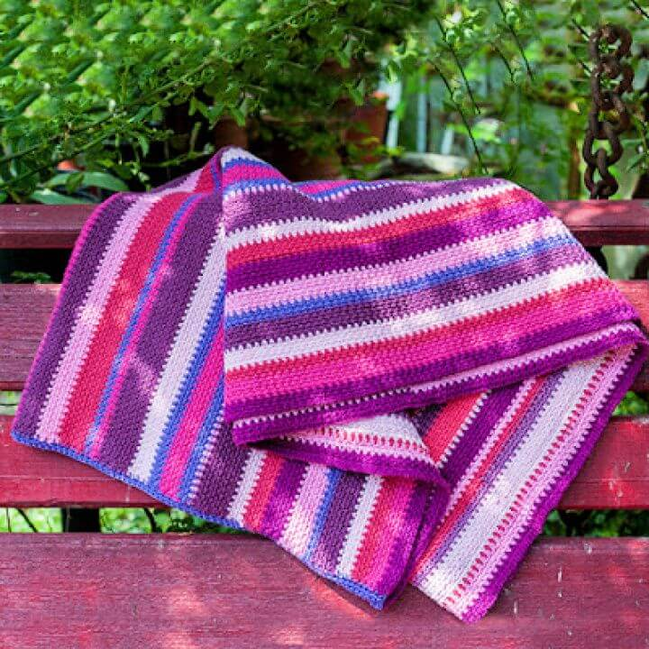 Free Crochet Blanket Sweater In Stripes