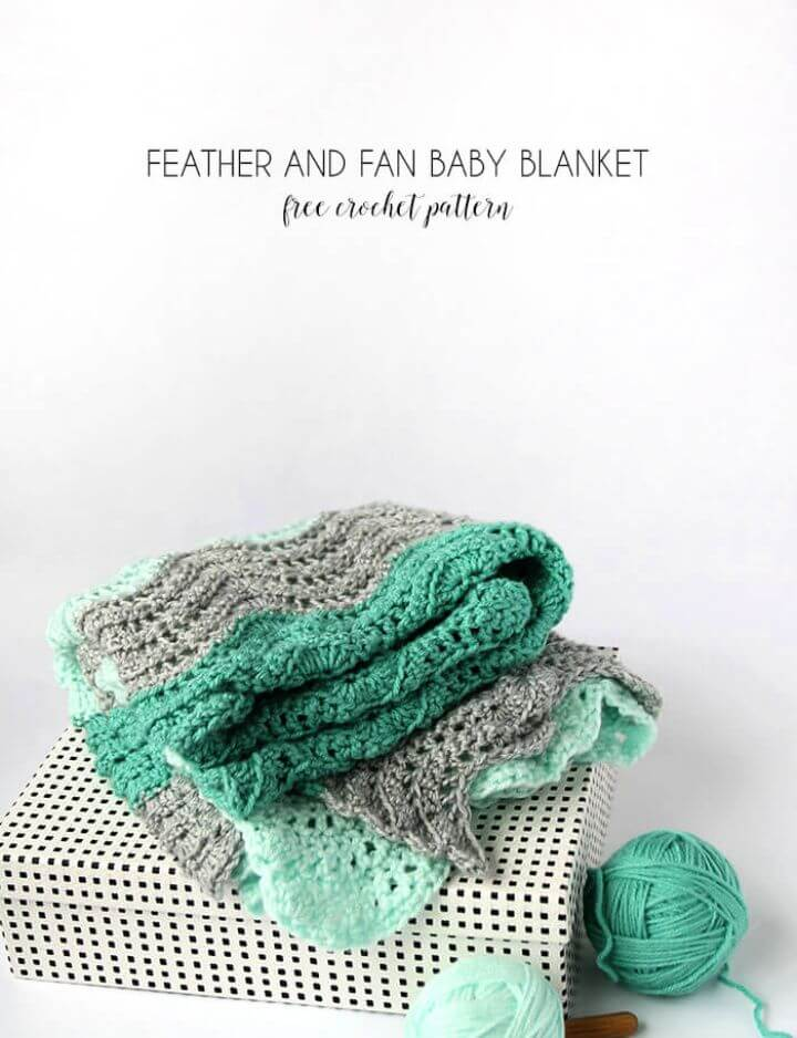 Free Crochet Feather And Fan Baby Blanket