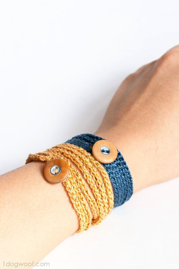 Free Crochet Wrap Bracelet With Button 11