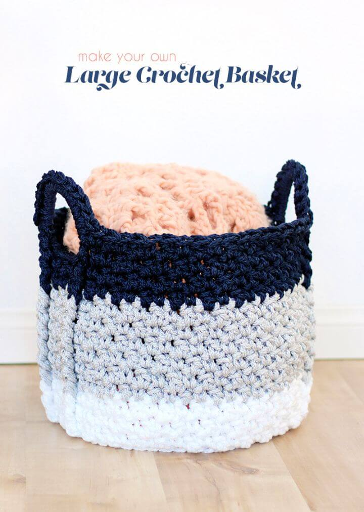 Free Large Crochet Basket With Handles Pattern