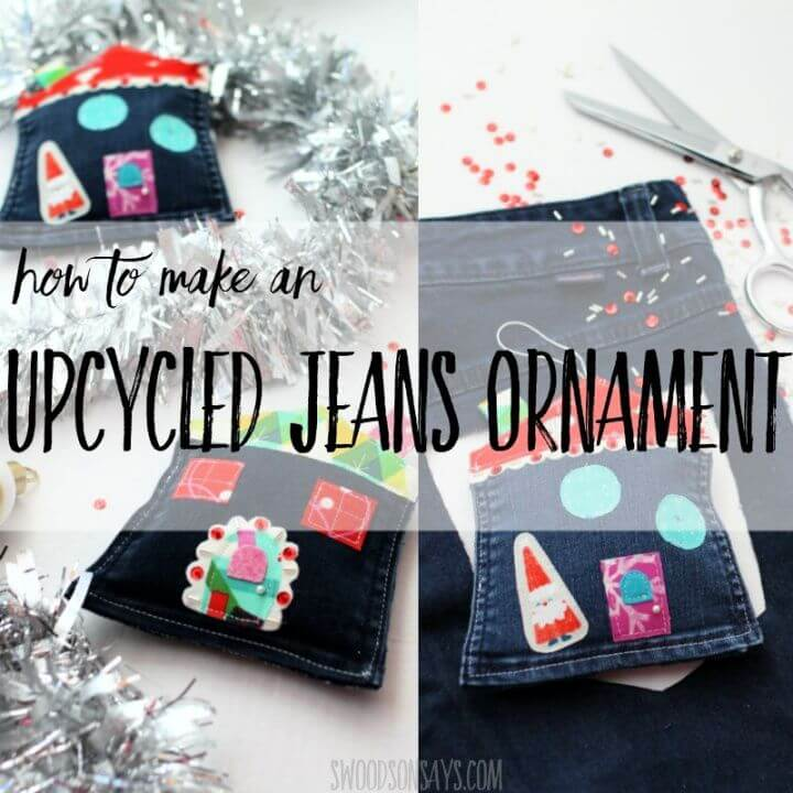 How To DIY An Upcycled Jeans Pocket Ornament