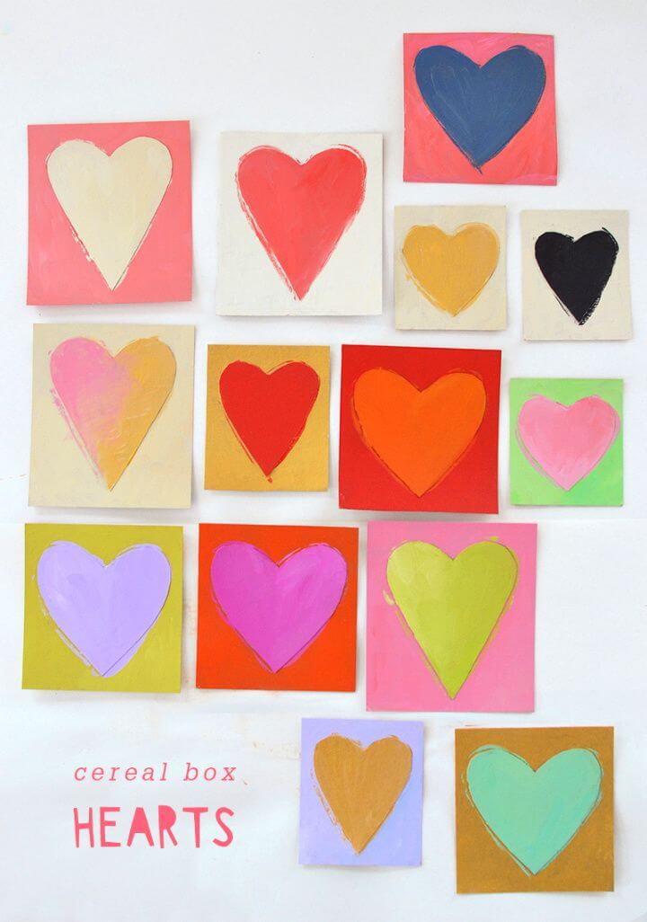 How To DIY Cardboard Hearts From Cereal Boxes