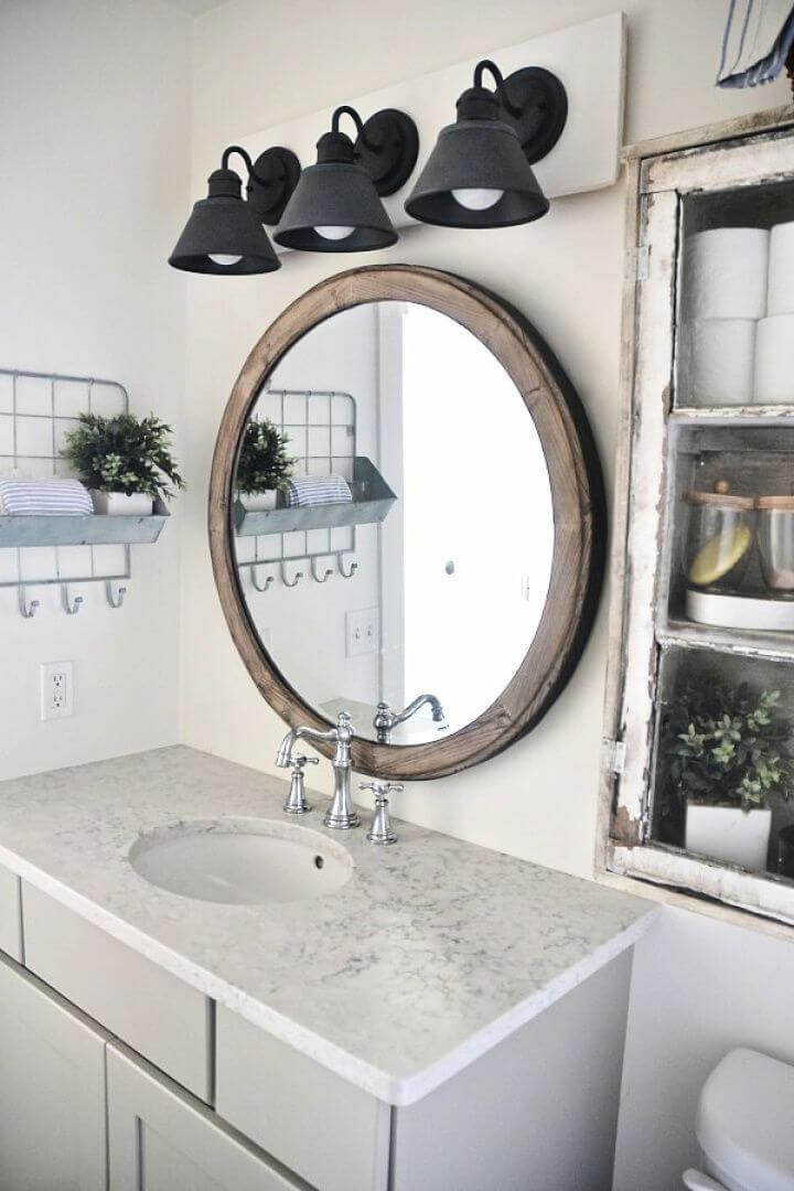 How To DIY Farmhouse Bathroom Vanity Light Fixture