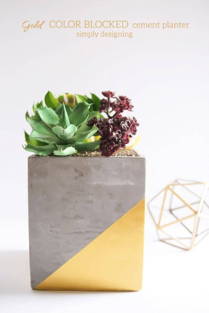How To DIY Gold Color Blocked Cement Planter