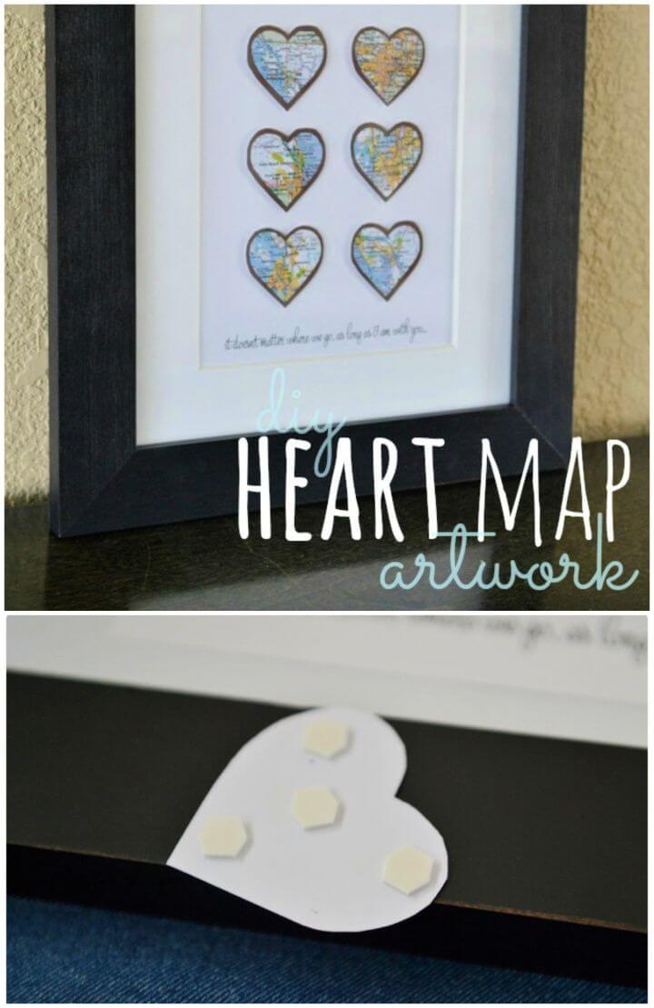 How To DIY Heart Map Art For Girlfriend