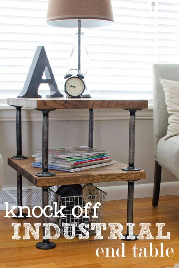How To DIY Knock Off Industrial Side Table