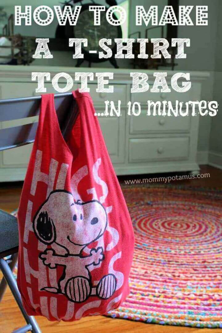 How To Make A DIY No Sew T Shirt Tote Bag In 10 Minutes