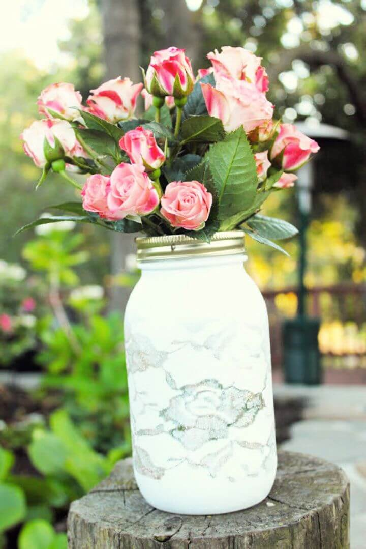 How To Make Your Own DIY Pretty Lace Vase