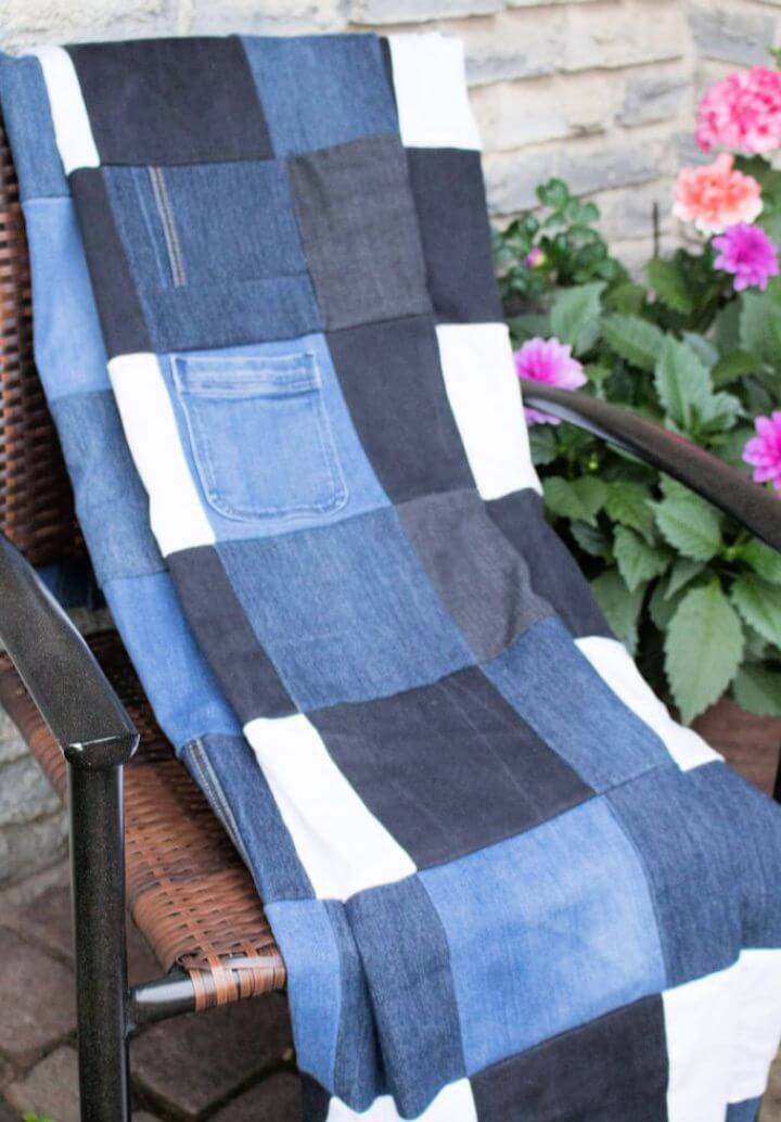 How To Repurposed Denim Checkered Picnic Blanket